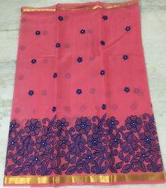 Here is the latest semi organza sarees with full embroidery with heavy pearl work.This saree have running bl...