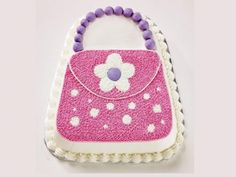 Beautiful Cake Pictures: Little Girl's Pink Purse Birthday Cake - Birthday Cake, Themed Cakes - Easy Kids Birthday Cakes, Make Birthday Cake, Girl Birthday, Birthday Ideas, Birthday Candy, Birthday Stuff, Happy Birthday, Wilton Cake Decorating, Decorating Tips