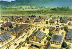 """The yashiki (mansion) and castle town of the Asakura at Ichijōdani, 1520"", Peter Dennis"