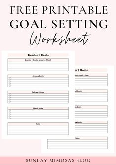 Download your free printable goal setting worksheet for here! There's space for you to plan out your quarterly and monthly goals this year and even some thought provoking questions to get you in a growth mindset! Are you ready to achieve your goals and dreams!? #goalplanning #goalsetting #goals