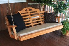 5' Marlboro Western Cedar porch swing with accent pillows and cushion.  Amish made in the USA.