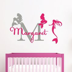 Wall Decals for Girls Name Vinyl Sticker Monogram Decal Mermaids Home Decorations Baby Nursery Bedroom Personalized Name Wall Decal MM45. Wall Decals for Girls Name Vinyl Sticker Monogram Decal Mermaids Home Decorations Baby Nursery Bedroom Personalized Name Wall Decal. Picture may not reflect true size (it is digital example for showing purpose). The ral Size of the decal is 22''Tall x 37''Wide. We make custom Sizes - Please contact us First. The price depends on the size of the Decal....