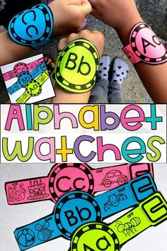 Are you teaching the letters of the alphabet? Your students would love these Alphabet Watches! Send them home on their cute little wrists! Perfect for teaching the alphabet with Kindergarten and Preschool! Preschool Letters, Preschool Learning Activities, Preschool Lessons, Preschool Kindergarten, Teaching Resources, Preschool First Day, Teaching Tools, Fun Learning, Abc Crafts