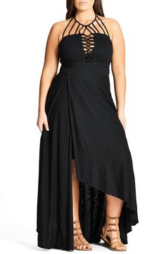 7ab2e67298cb City Chic Strappy Asymmetrical Faux Wrap Halter Maxi Dress (Plus Size)  available at