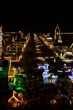 Oktoberfest at night in Munich, Germany