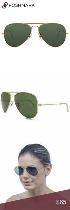 New Aviator Sunglasses RB3025 gold frame G-15 lens Currently one of the most iconic sunglass models in the world,?Ray-Ban Aviator Classic?sunglasseswere originally designed for U.S. aviators in 1937. With a classic gold frame, you can see the world through a variety of lens colors including crystal brown, crystal green, G-15 that provide optimum visual clarity and 100% UV protection. Made in Italy, authentic, come with original Brown leather case, cloth and box. Ray-Ban Accessories…