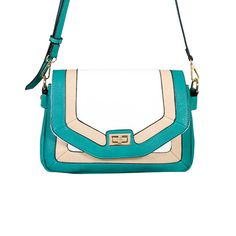 MMS Design Studio Color Block Crossbody - in teal/tan/white.  Brand new, never used. $25 plus shipping. ($64 retail).