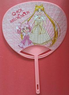 Sailor Moon Qpot Q-pot exclusive Usagi chan Chibiusa Pink paper fan rare F/S  #Qpot