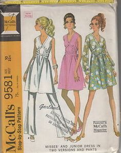 My mom made this outfit for me when I was in High School.  Mine was in a green Hawaiian print fabric.  I loved it! Vintage 60s Mod Greek Style Dress w Cross Front Ties Pattern 10 McCalls 9581   eBay