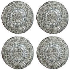 Beaded Coasters set of 4 - Swirl Silver - by Cotton Craft - Size 4 inches round - Hand crafted - Other colors available - Gold and Red - Coordinating Placemat, Runner and Napkin Ring also available and sold separately by Orient Originals Inc., http://www.amazon.com/dp/B007O6LKPC/ref=cm_sw_r_pi_dp_kfMjrb1J5M1Q1