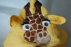 Hooded Giraffe Towel by PaperFabricandFun on Etsy