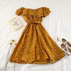 Summer Slash Neck Ruffles LaceUp Short Sleeves Dress Sweet Women Vintage Party Off Shoulder Print Floral Dresses Size One Size Color Apricot 3 Cheap Dresses, Cute Dresses, Beautiful Dresses, Summer Dresses, Women's Dresses, Cute Casual Outfits, Pretty Outfits, Casual Dresses, Women's Fashion Dresses