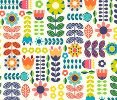 Modern Folk Embroidery Folk Art Flowers Fabric - Swedish Folk Art Colorful By Enariyoshi - Floral Scandinavian Modern Cotton Fabric By The Yard With Spoonflower - Pattern Art, Pattern Design, Print Patterns, Design Design, Folk Art Flowers, Flower Art, Art Scandinave, Stoff Design, Scandinavian Folk Art