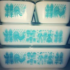 """Butterprint Pyrex - our """"china pattern"""" at home - would be neat to duplicate the pattern on the wedding cake."""