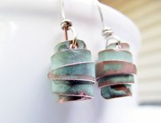 Rustic Rolled Copper Bead Earrings Recycled Natural Green Patina | WestWindCreations - Jewelry on ArtFire