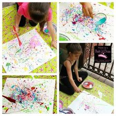 splatter paint - grab paint, some fun tools, a large canvas or sheet and get splattering! Kids will have a blast