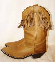 Fringe Western Cowboy Boots Tan Brown From Sheplers USA Made Womens Size 8 M #Sheplers #CowboyWestern