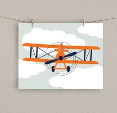 Antique Airplane Nursery Art Print   Orange & Navy, 11x14 by SlightlySprightly, $20.00