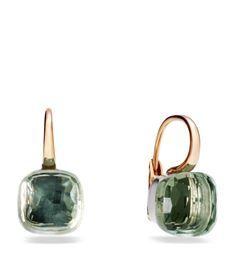 View the Large Nudo Prasiolite Rose Gold Earrings