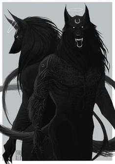 - Anubis x Wolf. Magical Creatures, Fantasy Creatures, Fantasy Kunst, Fantasy Art, Character Inspiration, Character Art, Werewolf Art, The Ancient Magus Bride, Arte Horror