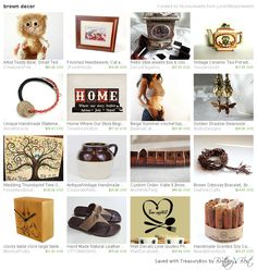 """Brown Decor, a treasury by LoraViBeadJewelry, includes our  """"Friends"""" cross- stitch picture.  Many thanks!  https://www.etsy.com/treasury/NTg2OTgwNDF8MjcyNDk5NjE2Nw/brown-decor"""