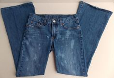 LUCKY BRAND Bleach Stained Flare Jeans Size 4 27 EUC Distressed Wash #LuckyBrand #Flare