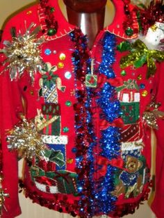 Ugliest Christmas sweater of all time? Yes, we have a winner, and I want it!  HH23 L Ugly Christmas Sweater Tiara International Stacks of Gifts Zip Front L | eBay