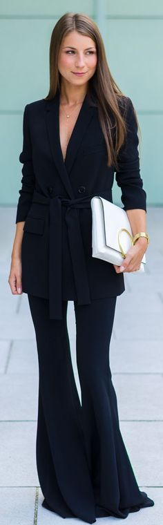 Veja Du Black Flare Pants Suit Chic Outfit Idea