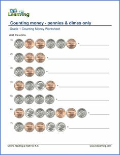 Grade 1 Counting money Worksheet on pennies and dimes
