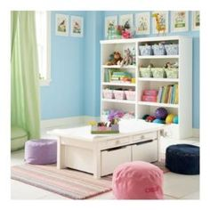 Convertible activity table for the playroom from Land of Nod Kids Play Table, Kid Table, Kids Bookcase, Kids Storage, Table Storage, Storage Bins, Storage Drawers, Storage Solutions, Storage Ideas