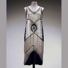 Black and White Beaded Chemise Dress. Owned and worn by Theda Bara  Circa 1925