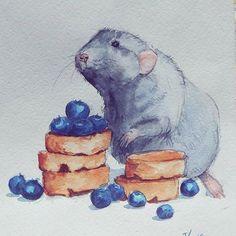 illustration watercolors animal artist mouse иллюстрация мышь акварель