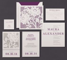 Our Raspberry Alencon Lace Folder invitation suite is shown here thermograph printed in raspberry and indigo inks.