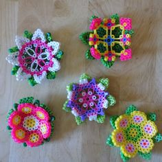 Set of 5 3D flowers perler beads by AuntieBoosCrafties