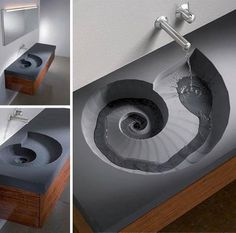 Brilliant Spiral Sink and Wash Basin Design Lavabo Design, Basin Design, Bathroom Sink Design, Bathroom Sinks, Kitchen Sinks, Bathroom Ideas, Bathroom Designs, Kitchen Design, Kitchen Stools