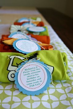 CUTE DIY shirt for birthday party favors or even invitations!