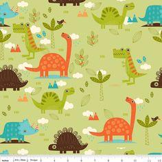 Dinosaur Fabric main in green  by Riley Blake por GlamFabrics