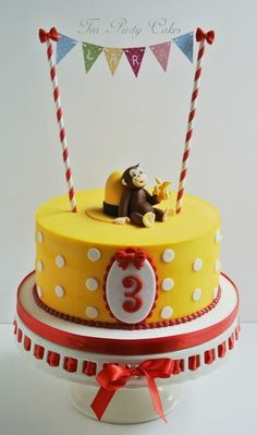 Curious George cake by Tea Party Cakes - like bunting. yellow cake with white dots Curious George Party, Curious George Cakes, Curious George Birthday, Curious George Cake Topper, Monkey Birthday, Cake Birthday, Birthday Cake Decorating, 2nd Birthday Parties, Birthday Ideas