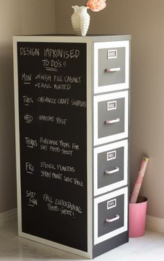 Chalkboard paint + a filing cabinet = a unique place to keep track of your To Do list! || @Haeley Giambalvo / Design Improvised