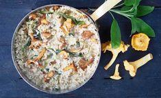 Kantarellirisotto maustetaan tuoreella salvialla ja raastetulla sitruunankuorella. Katso tästä Kotilieden Himahella-blogin resepti, jolla onnistut!