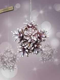 Pine cones snowflake from Attitude Nature. Maybe for Christmas and paint with glitter paint. Hang on the tree so the lights make it sparkle.