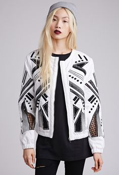 Forever 21 - Embroidered Cutout Bomber Jacket. Graphic embroidery forms a mirrored geo pattern on the zip front and long sleeves, edgy caged cutouts show hints of skin, and features elasticized waist and cuffs as well as a round neckline.
