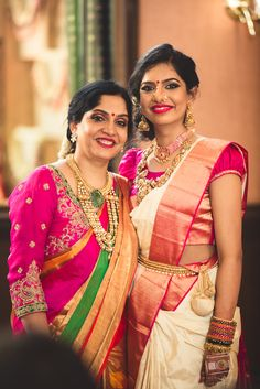 South Indian Bride -Bride in a Gold and Red Saree with Gold Jewelry South Indian Wedding Saree, South Indian Sarees, Wedding Sari, South Indian Bride, Indian Bridal, Elegant Wedding, Wedding Bride, Wedding Blog, Wedding Ceremony