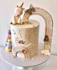 Birthday Cake For Papa, Baby Birthday Cakes, Rainbow First Birthday, First Birthday Cake Topper, Baby Girl Cakes, Creative Birthday Cakes, Beautiful Birthday Cakes, Birthday Cake Decorating, Birthday Cake Design