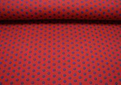 Baumwolljersey - Punkte 8mm - Rot / Blau