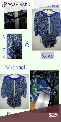 Michael Kors Blouse Electric Blue & Green make up this beautiful blouse, made by Michael Kors. Love this brand and material! Wore once but looks brand new! 100% Polyester, from a smoke free home. Enjoy! Thank you for liking, sharing, bundling or buying! Michael Kors Tops Blouses