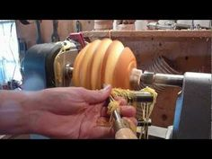 Woodturning Carving a Halloween Pumpkin on the lathe