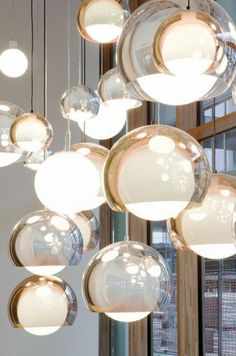 SCONFINE SFERA spherical pendant lamp design provides an impressive lighting effect due to their partly transparent luminaire unit with chrome coating. Besides directly emitted light, light is reflected inside the luminaire unit, making i Interior Lighting, Home Lighting, Modern Lighting, Lighting Design, Pendant Lighting, Pendant Lamps, Luxury Lighting, Industrial Lighting, Lighting Ideas