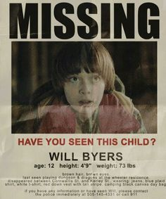 Stranger Things party prop - Will Byers missing poster Stranger Things Netflix, Stranger Things Funny, Stranger Things Theme, Stranger Things Season 3, Stranger Things Halloween Costume, Stranger Things Halloween Decorations, Jonathan Byers, Should I Stay, Stranger Things Aesthetic