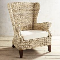 This isn't your grandmother's wing chair. Our Loxley Kubu reinvents the classic design by crafting it in hand-woven rattan for a modern, more organic vibe. What does remain is the undeniable comfort of a high-back silhouette and the simplicity of streamli Outdoor Chair Cushions, Outdoor Wicker Furniture, Wicker Chairs, Upholstered Chairs, Wingback Chair, Dining Chairs, Furniture Chairs, Dining Room, Swivel Chair